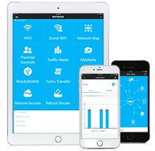 genie Landing Page | Apps | Discover | Home | NETGEAR